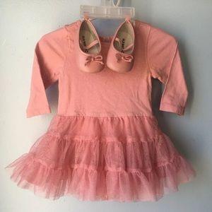 Pink tutu onesie dress 3-6 months w/ shoes